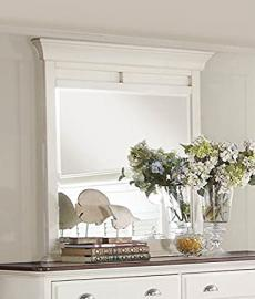 Cottage Style Antique White with Dark Cherry Top Bedroom Furniture - Floresville (Mirror)