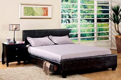 Inland Empire Furniture Full Size Burlington Espresso Bonded Leather Platform Bed w/ Drawers with Bed Set
