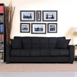 Baja Convert-a-couch and Sofa Bed, Black, Stylish and Comfortable Sofa Sleeper Converts to a Full Bed with Touch of a Hand