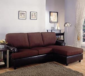 Reversable Sectional Sofa Chaise Brown Microfiber Dark Brown Leather Like