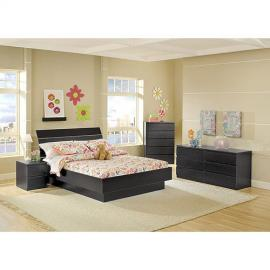 4-piece Full Platform Bed, Nightstand, Dresser and Chest Bed Room Set, Black Woodgrain