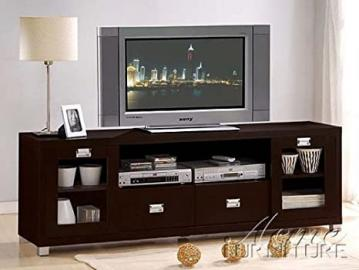 Commerce collection espresso finish wood TV stand entertainment center console with glass front doors.