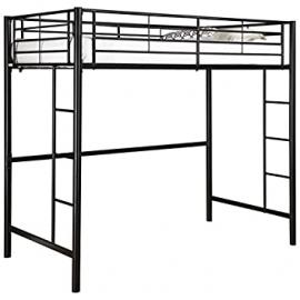 Sale Funiture Futon Bunk Loft Bed Frames for Kids / Adults, Boy /Girl with Strong In-built Ladder Stairs- Black