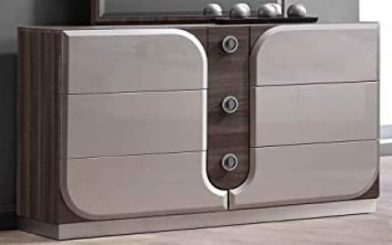 Chintaly Imports 6 Drawer Dresser, Zebra Grain/Silver