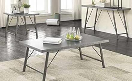 Coffee Table in Deep Zinc Finish by Coaster Furniture