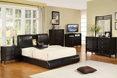 Inland Empire Furniture Queen Size Webster Urban Espresso Leather with Folding Table Platform Bed