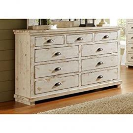 Montrose Distressed White 9 Drawer Dresser - Fully Assembled