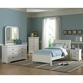 Marianne Youth Sleigh Bedroom Set (White) Full