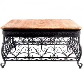 Timeless Reflections Aged Iron and Wood Coffee Table