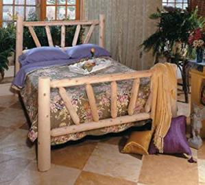 "82"" Handcrafted Cedar Log Style Wooden Sunrise Queen Bed Frame"