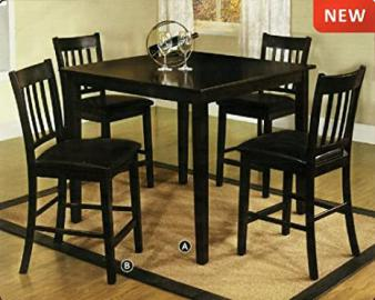 Midtown Espresso Finish Mission Style 5-Piece Counter Height Dining Table Set
