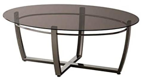 Oval Coffee Table with Smoked Glass Top by Coaster Furniture