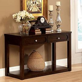 Metro Shop Furniture of America Brown Cherry Baltran 2-drawer Console Table with Display Shelf-Brown Cherry