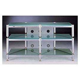 BLG Series TV Stand in Grey Silver w Frosted Glass Shelves