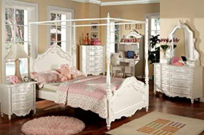 Inland Empire Furniture Victoria Pearl White Solid Wood Canopy Full Bed