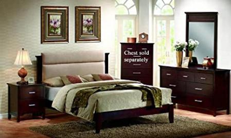 4pc California King Size Platform Bedroom Set in Mahogany Finish