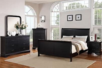 Louis Phillipe Black Queen Size Bedroom Set Featuring French Style Sleigh Platform Bed And Matching Casegoods