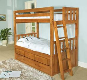 Twin Over Twin Convertible Bunk Bed with 3 Drawers and Trundle, Entertainment Dresser in Honey Finish