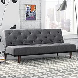 Sauder Premier Crash Convertible Sofa in Dark Grey
