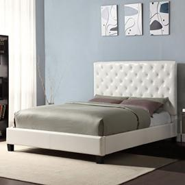 This Elegant Tufted Headboard for a Queen Bed Is a Complete Platform Bed. Set Includes a Queen White Tufted Headboard, Set of Rails and Footboard. This Tufted Headboard Bed Add a Touch of Sophistication to Any Bedroom.