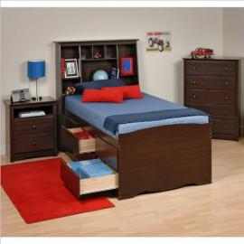 Prepac Fremont 3-Piece Tall Twin Youth Bedroom Set in Espresso