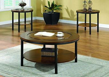 MEDIUM BROWN VENEER / BRUSHED METAL 3PCS TABLE SET (SIZE: 38L X 38W X 19H)