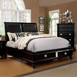Laguna Hills English Style Black Finish Queen Size Platform Bed Frame Set