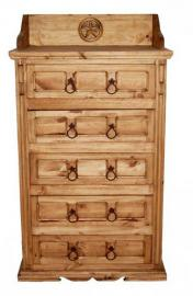 Rustic Western San Gabriel 5 Drawer Chest Of Drawers, Real Wood Dresser