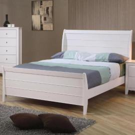 Selena White Twin Sleigh Bed by Coaster Furniture