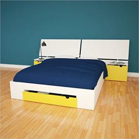 Nexera Taxi 2 Piece Full Bedroom Set in White and Yellow