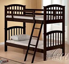 Twin Size Bunk Bed with Slat Design in Dark Walnut Finish