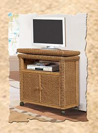 Santa Cruz Rattan and Wicker TV Stand with Caster Wheels