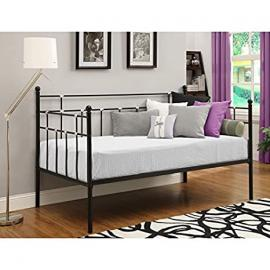 Black Metal Daybed * Twin Sized Bedroom Furniture * Great for Kids Guests Living Room Home Decor * Use As Bed Frame Couch Sofa * Mattress Pillows Sheets Bedding Blanket Lamp End Tables Not Included