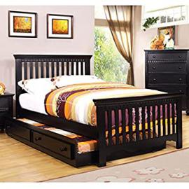 Castillian Cottage Style Black Finish Full Size Bed Frame Set w/ Trundle