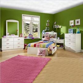 Kids Wood White Captain's Bed 5 Piece Bedroom Set