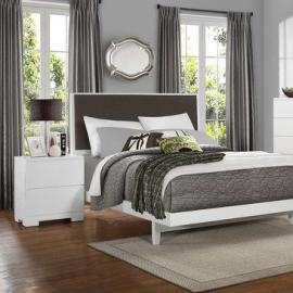 Homelegance Galva 2 Piece Platform Bedroom Set w/ Dark Brown Linen Headboard in Glossy White