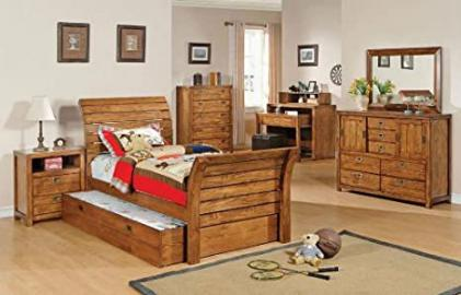 Rustic Oak Finish Full Size Bed