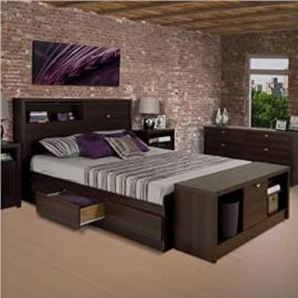 Prepac Series 9 Designer Bed and Bench in Espresso - Full
