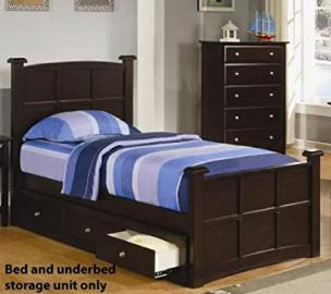 Youth Twin Size Bed with Underbed Drawers in Rich Cappuccino Finish