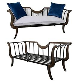 "Metal Sofa w/ Cushion & Pillows 71""x28""x30"""