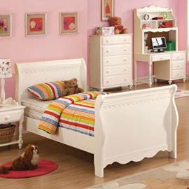 Adriana II White Finish Twin Size Bed Frame Set