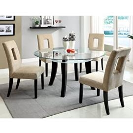 Grandam Espresso Finish 5-Piece Round Dining Table Set