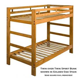 Solid Wood Bunk Bed with Optional Storage Drawers OR Rolling Trundle Bed, finished in a Golden Oak Color
