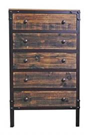 Rustic San Marcos 5 Drawer Chest of Drawers Solid Iron Frame Modern Solid Wood