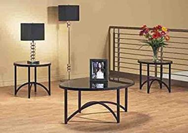 BLACK METAL 3PCS TABLE SET WITH TEMPERED GLASS (SIZE: 44L X 30W X 18H)