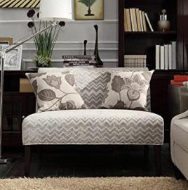 Inspire Q Wicker Park Grey Chevron Armless Loveseat Modern Fabric