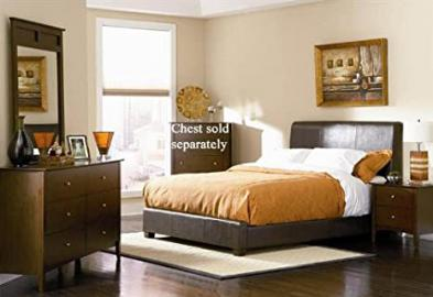 4pc Queen Size Bedroom Set in Brown Bycast Leather
