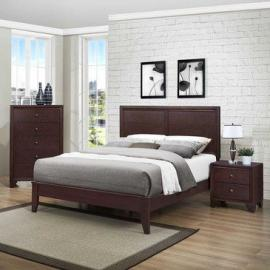Homelegance Kari 3 Piece Platform Bedroom Set in Warm Brown Cherry