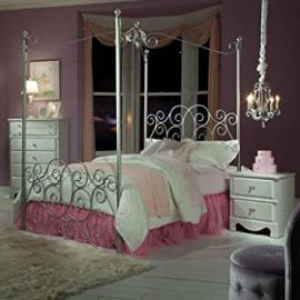 Standard Furniture Princess 3 Piece Kids' Canopy Bedroom Set in Silver Metal