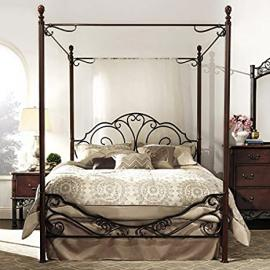 Queen Antique Style Metal Bed Frame Cherry Dark Bronze Finish Vintage Canopy Princess Wrougt Iron Bedroom Furniture Great with Shear Curtains or Mosquito Netting Drapes Nightstand Dresser Sold Separat(queen)